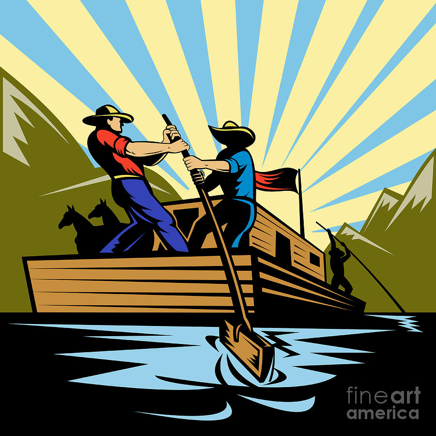 Flatboat Digital Art - Flatboat Along River by Aloysius Patrimonio