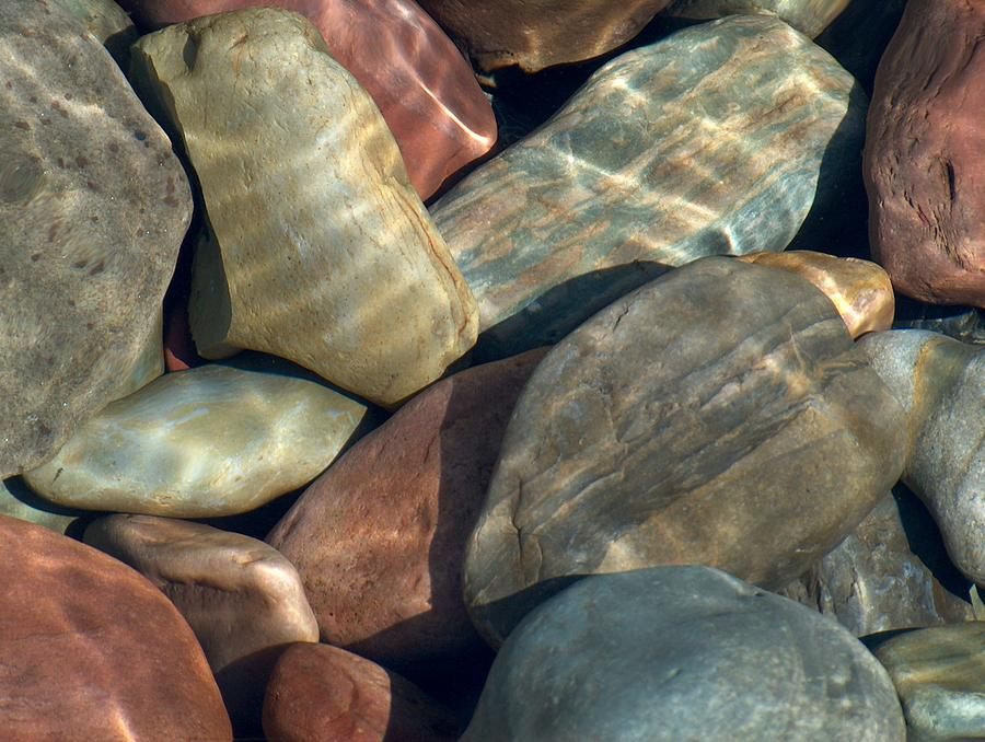 Rocks Photograph - Flathead River Rocks by Denise   Hoff