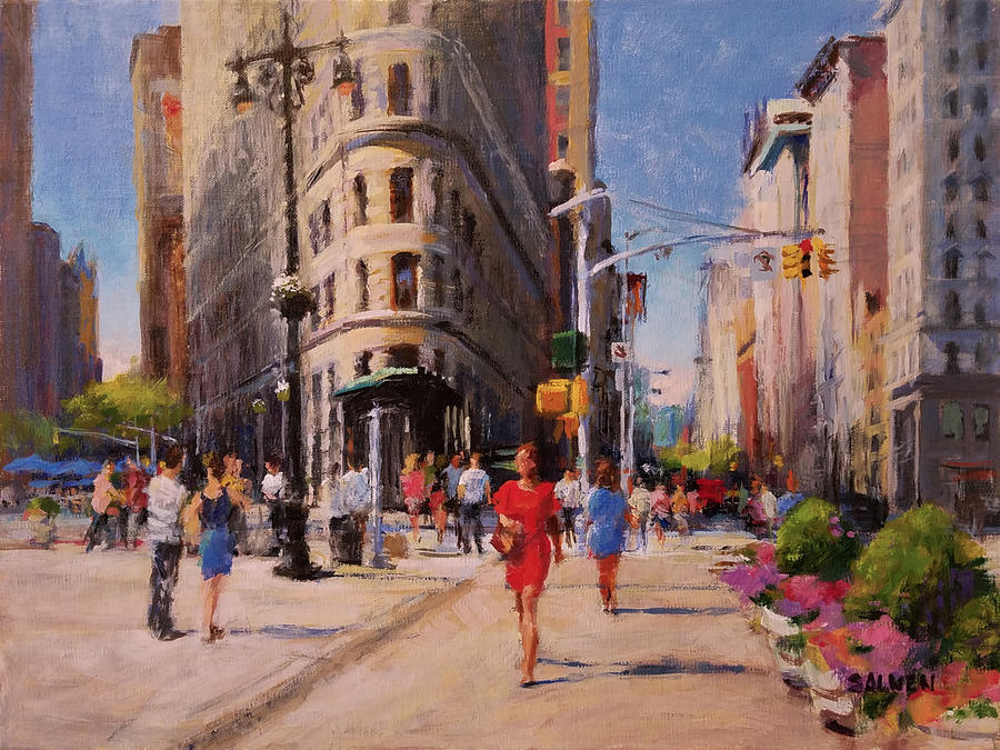 Landscape Painting - Flatiron Plaza, Summer Morning by Peter Salwen