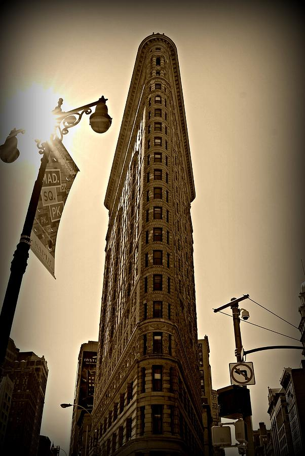 'new York City' Photograph - Flatiron Sepia by Randy Aveille