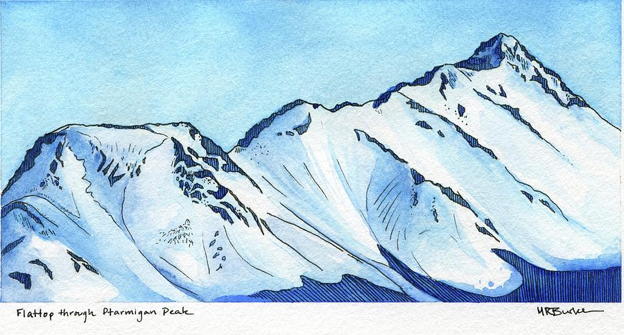 Watercolor Painting - Flattop Through Ptarmigan Peak, Alaska by Melissa Burke