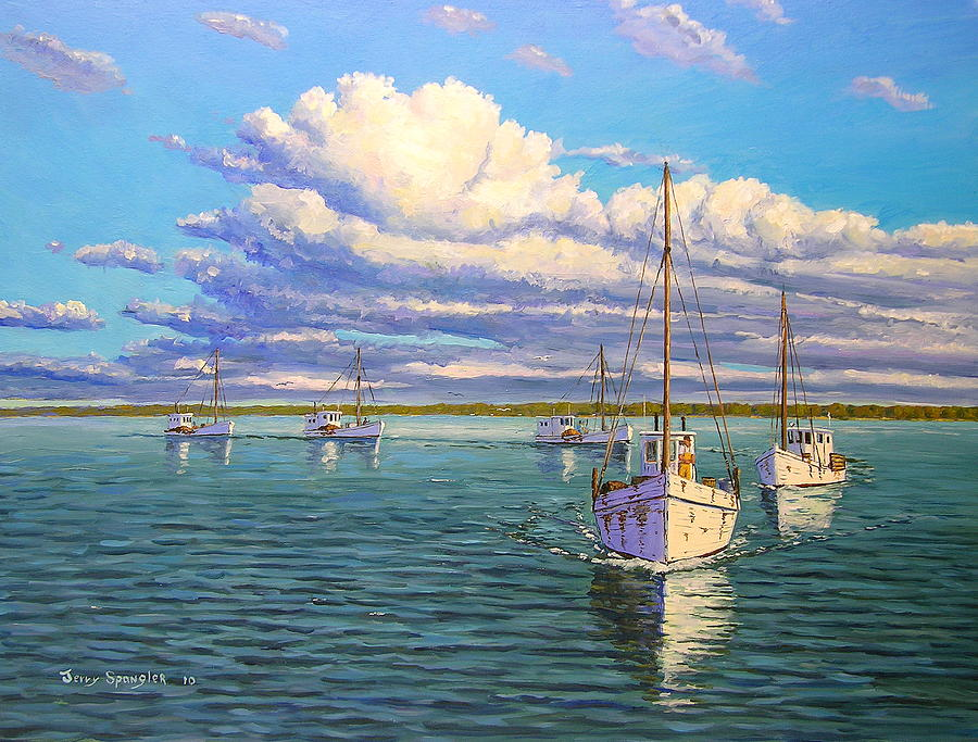Chesepeake Bay Painting - Fleet Returning Home by Jerry Spangler