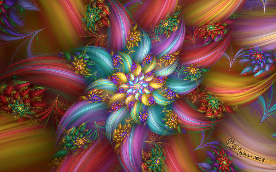 Abstract Digital Art - Fleur Couleur by Peggi Wolfe