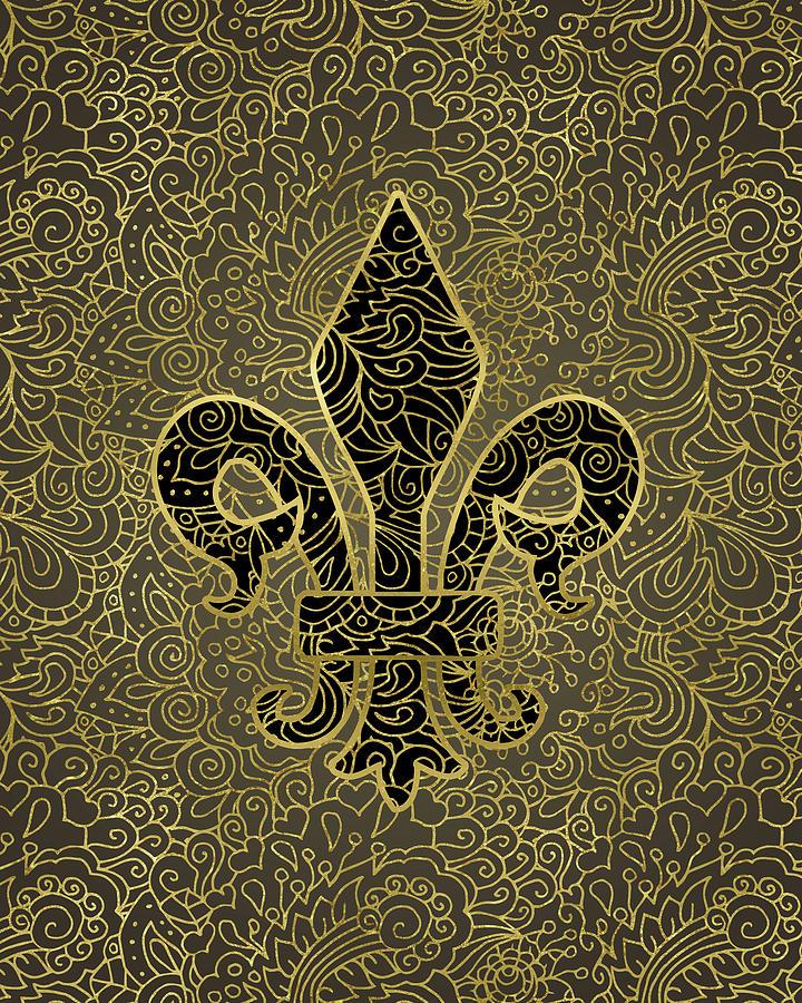 Fleur De Lis Digital Art - Fleur De Lis - A Gold Whisper by Flo Karp