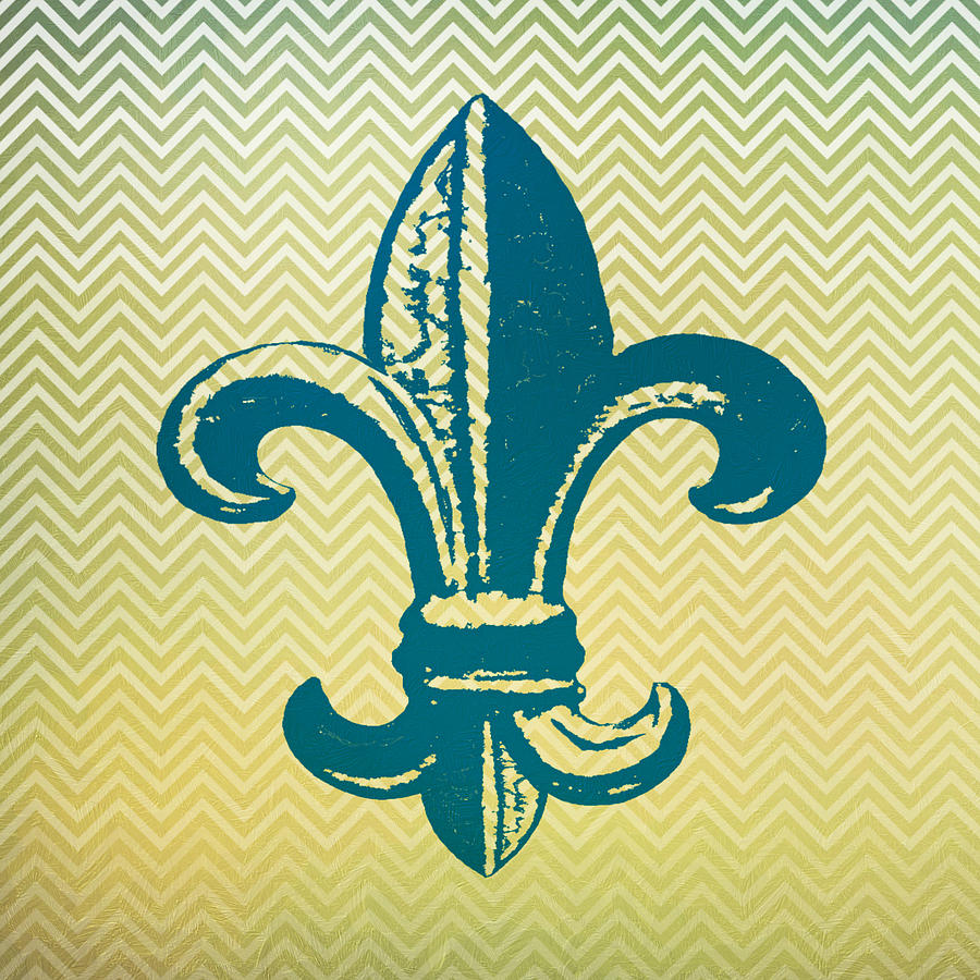 Fleur De Lis Chevron Print Digital Art by Brandi Fitzgerald