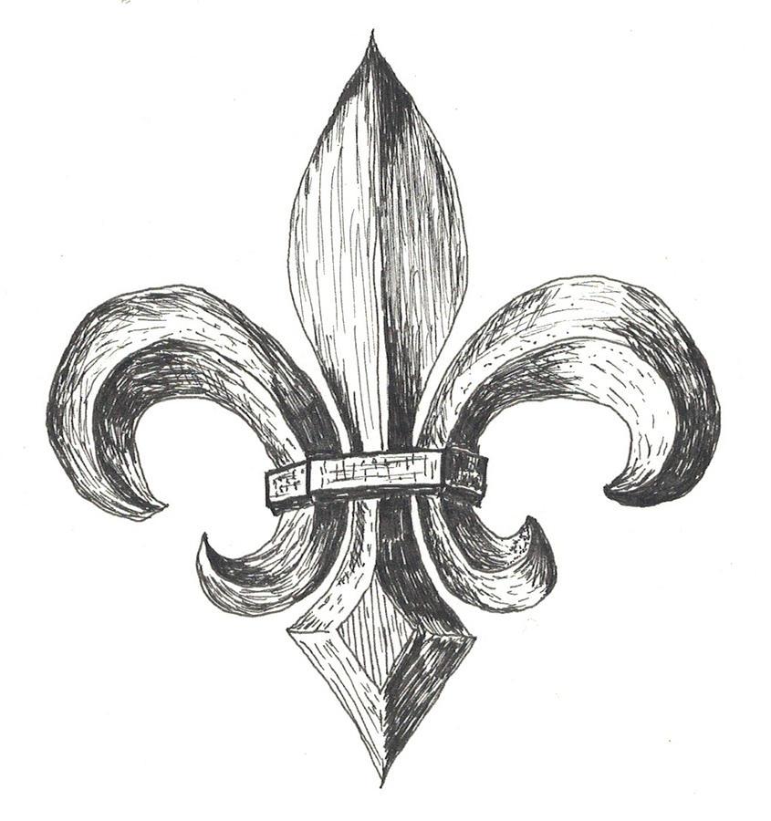Fleur De Lis Drawing by Lee Gray
