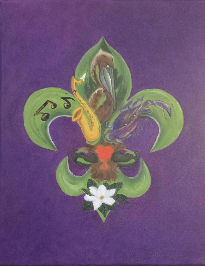 Fleur De Lis Purple Green And Gold Painting