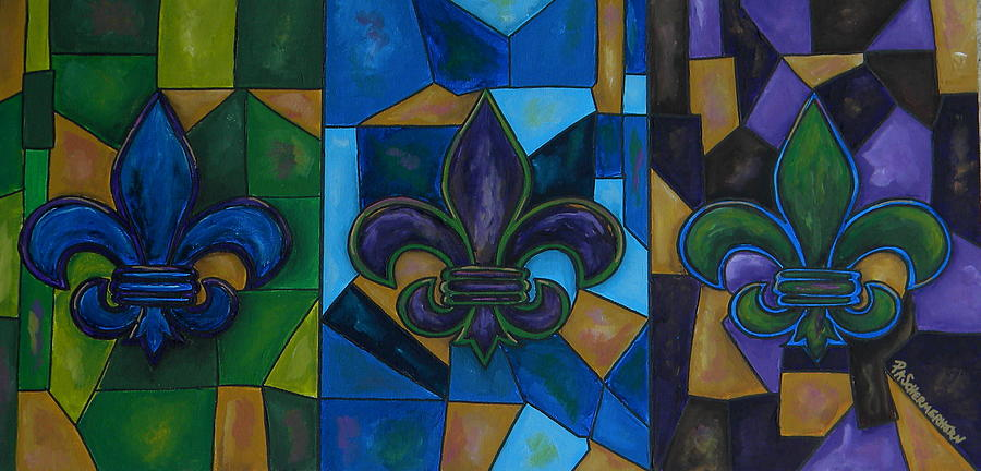 Fleur De Lis Painting - Fleur De Lis Trinity by Patti Schermerhorn