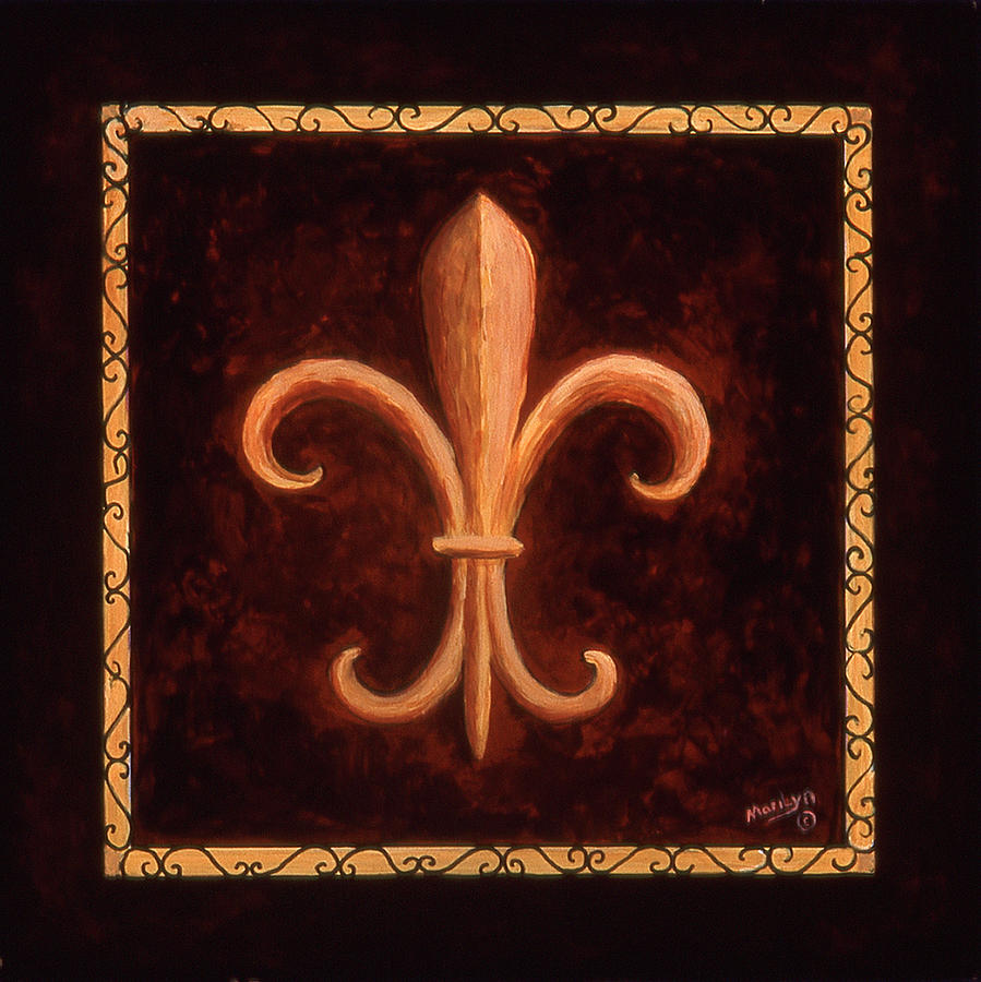 French Symbols Painting - Fleur De Lys-king Louis Vii by Marilyn Dunlap