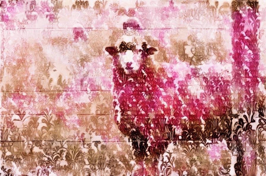 Sheep Mixed Media - Fleur De Sheep by Susan Maxwell Schmidt
