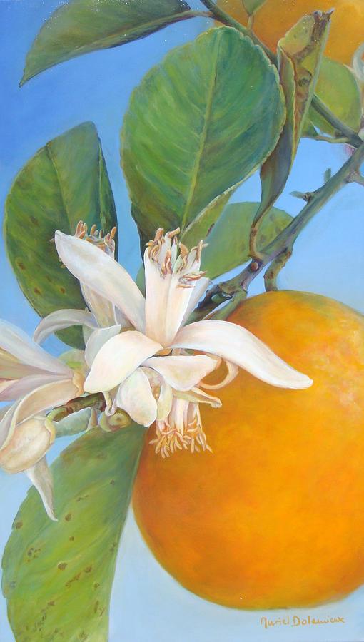 Citrus Painting - Fleurs d oranges by Muriel Dolemieux
