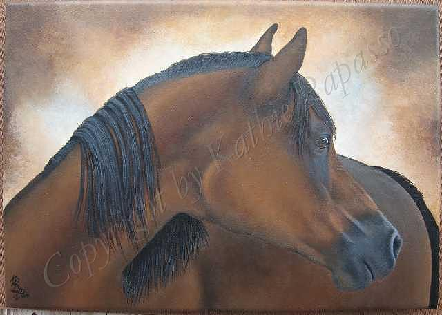 Horse Painting - Flicka by Kathie Papasso