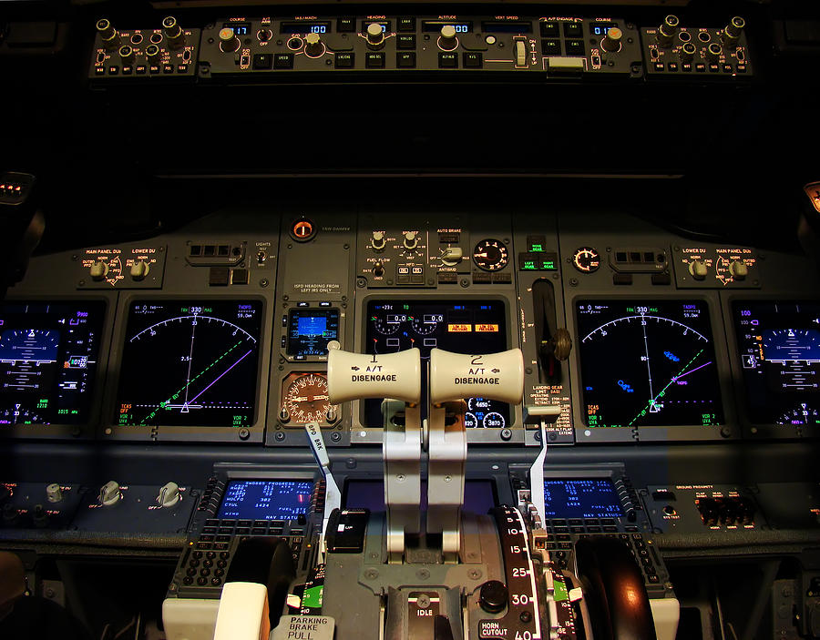 Cockpit Photograph - Flight Deck. by Fernando Barozza