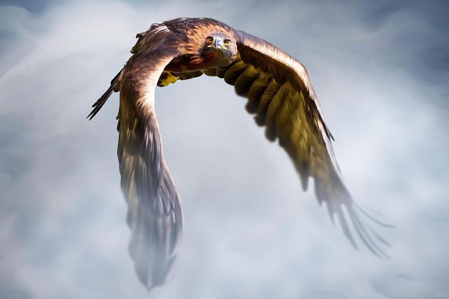 Golden Eagle Digital Art - Flight Of Fancy by Julie L Hoddinott