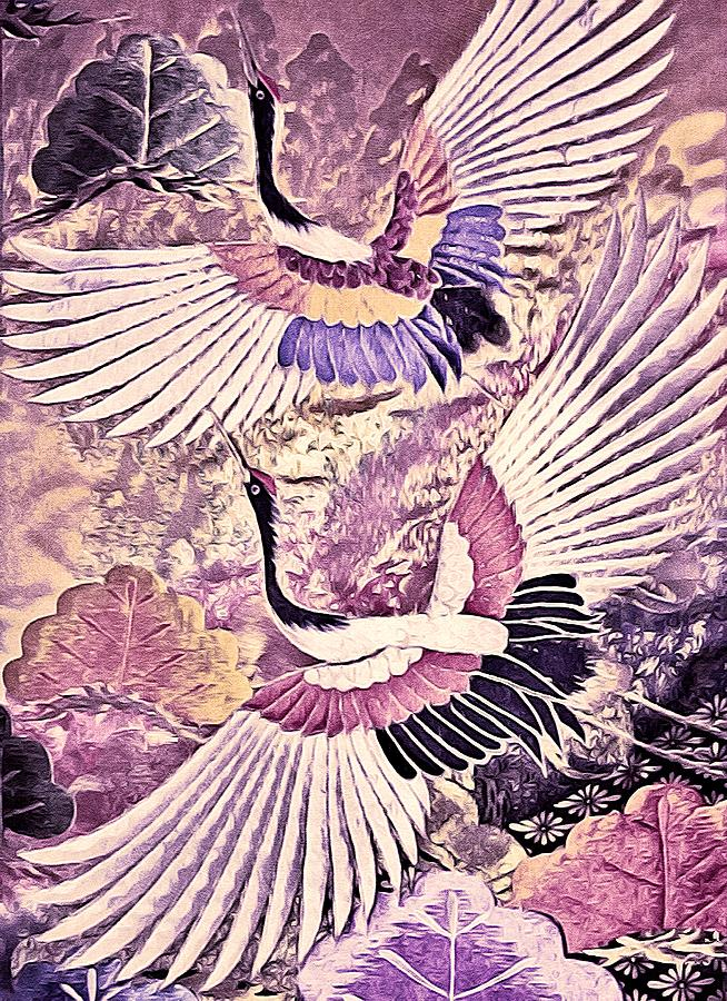 Flying Crane Tapestry - Textile - Flight Of Lovers - Kimono Series by Susan Maxwell Schmidt