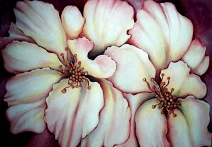 White Flower Painting - Flighty Floral by Jordana Sands