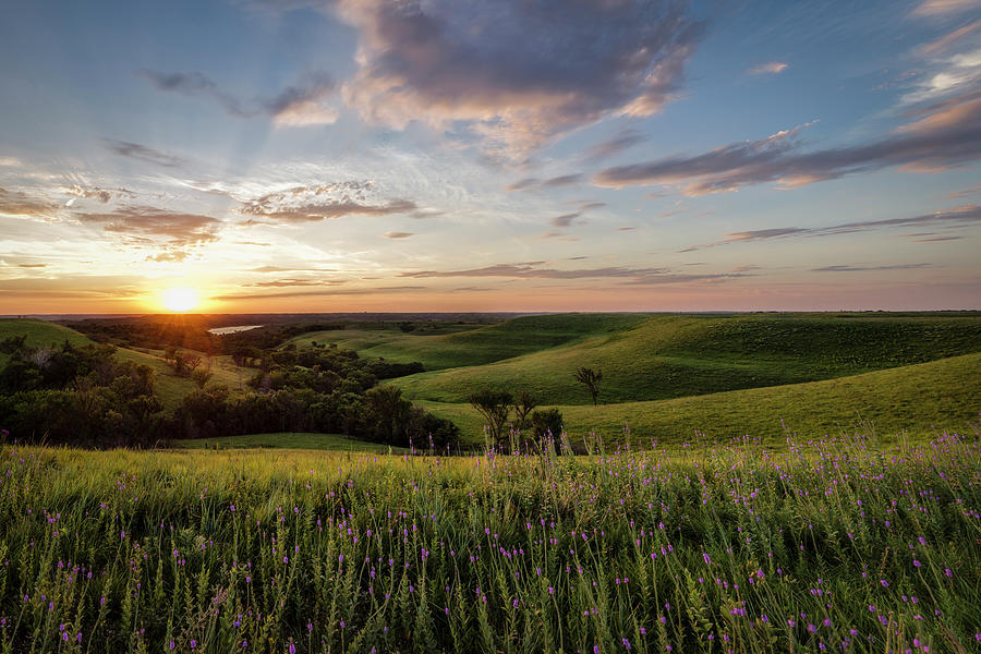 Fine Art America Photograph - Flint Hills Sunset by Scott Bean
