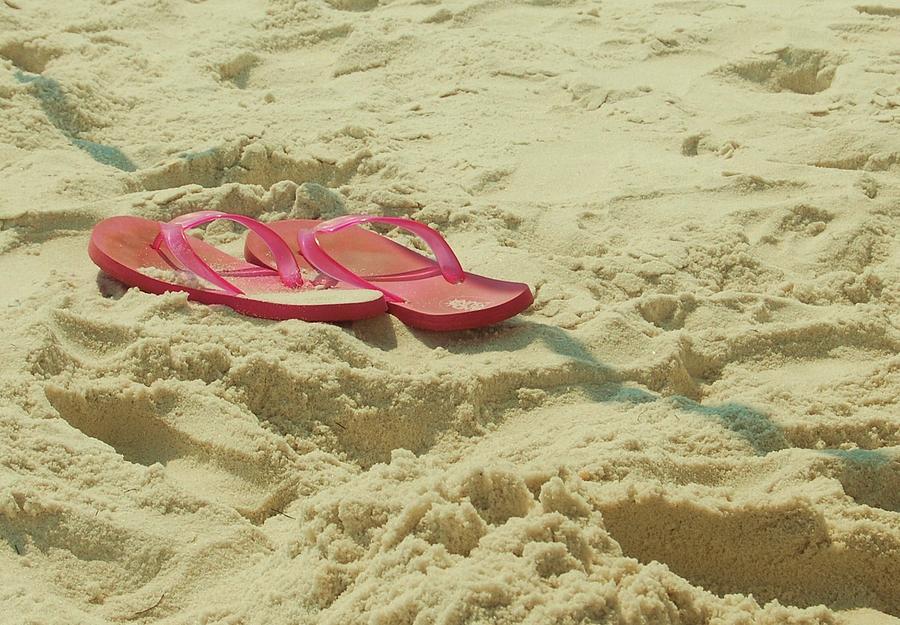 Flip Flops Photograph - Flip Flops In The Sand by Beverly Hammond