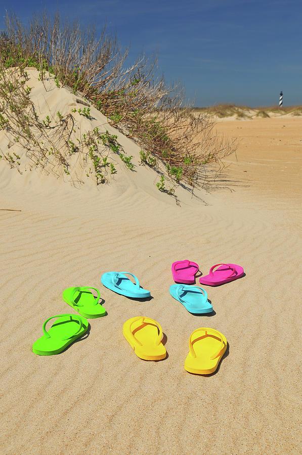 Flip Flops on the Beach Photograph by