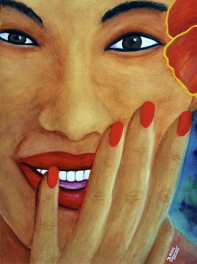 Faces Painting - Flirtation #168 by Donald k Hall