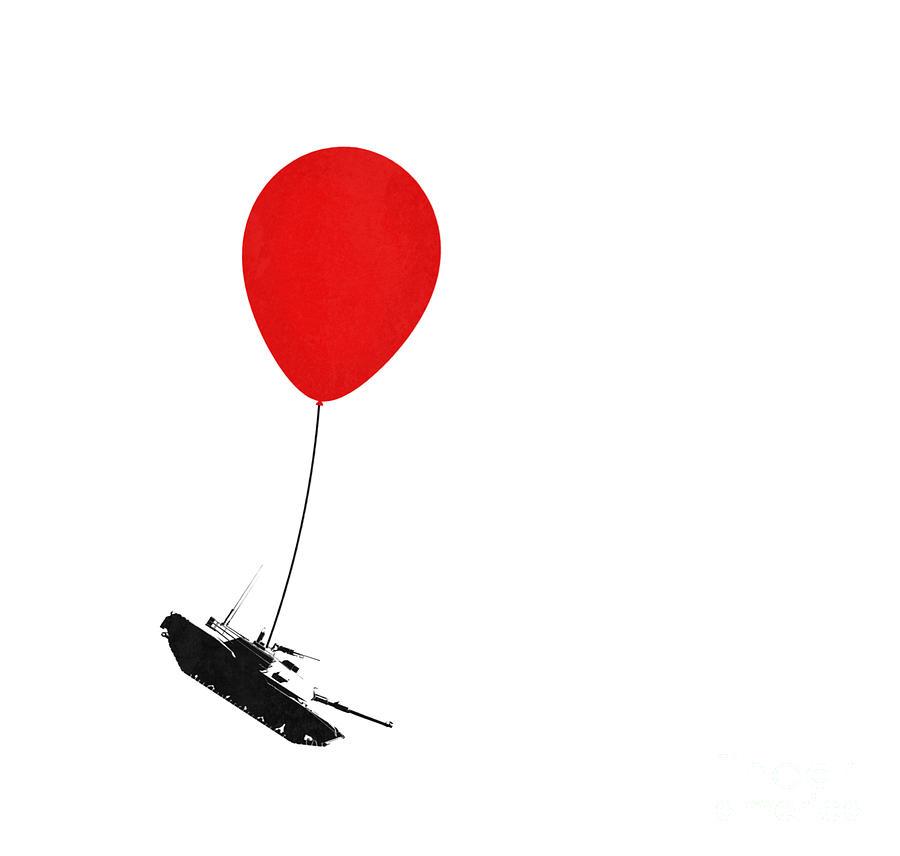 Banksy Digital Art - Floating Away  by Pixel Chimp