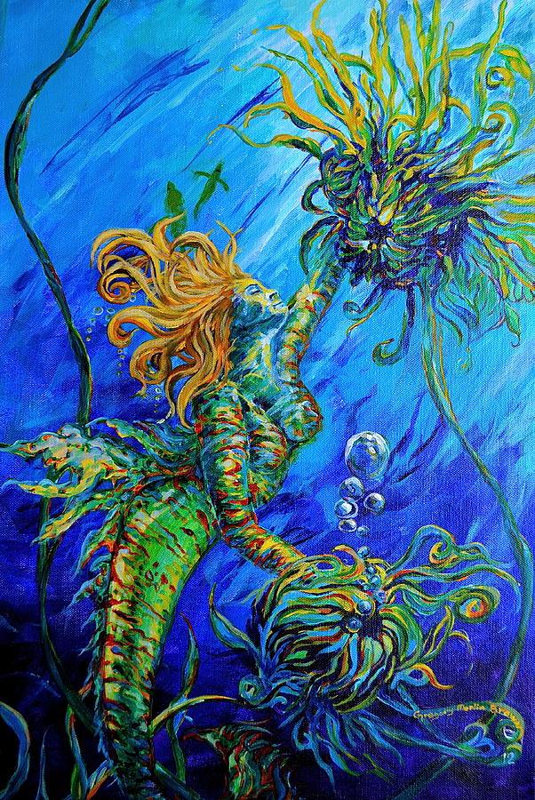 Mermaid Painting - Floating Blond Mermaid by Gregory Merlin Brown