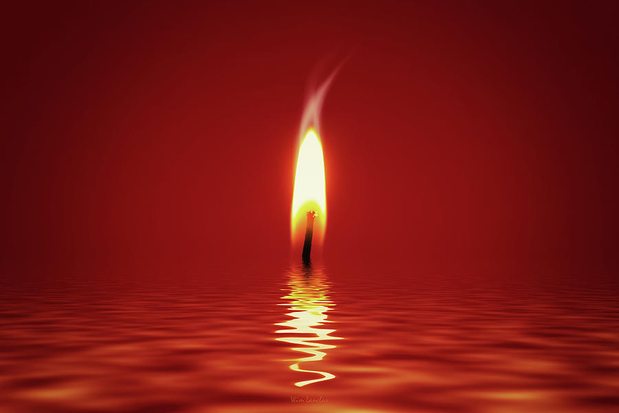 Candlelight Photograph - Floating Candlelight by Wim Lanclus