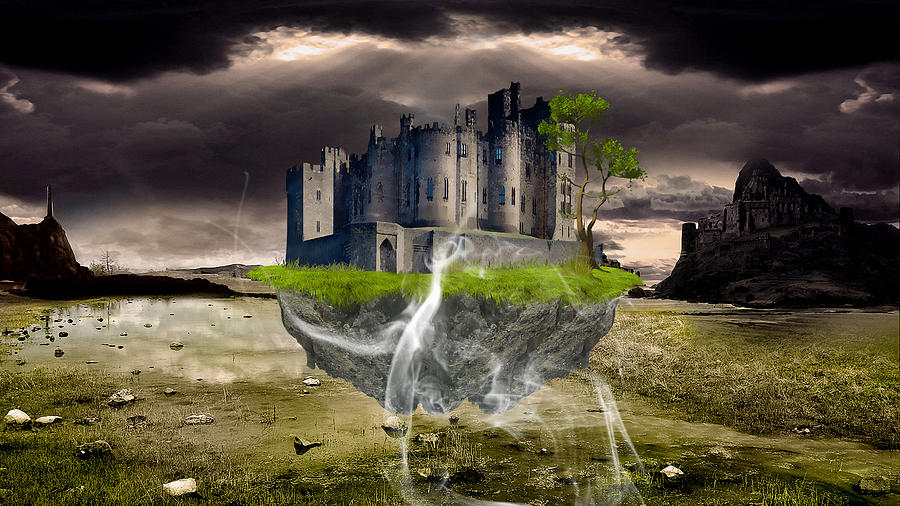 Castle Mixed Media - Floating Castle by Marvin Blaine