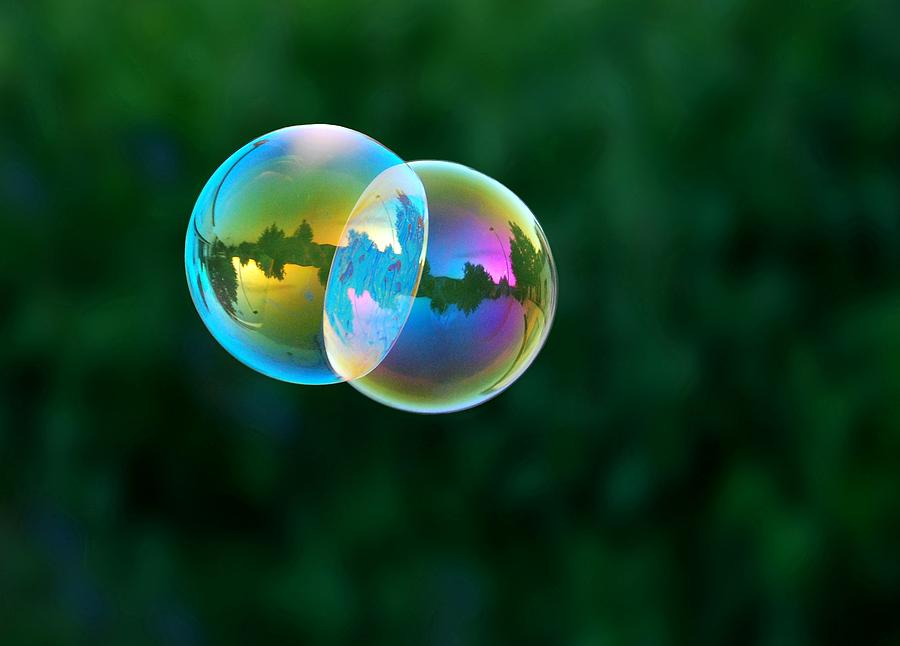 Bubbles Photograph - Floating Double by Marilynne Bull