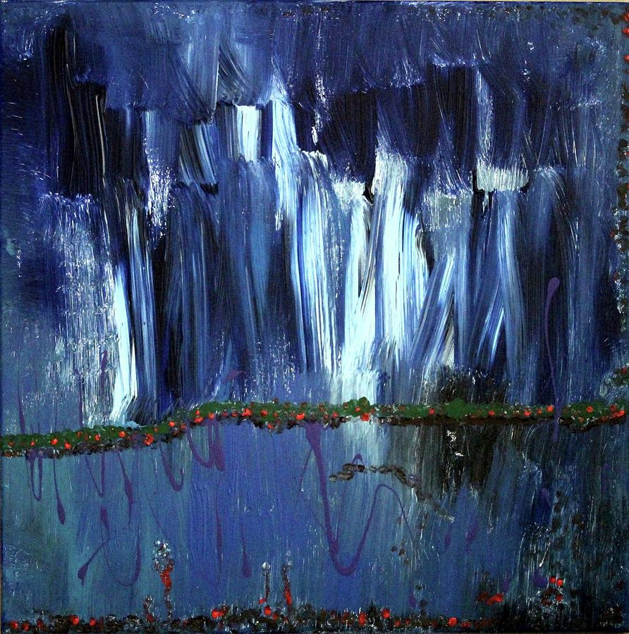 Blue Painting - Floating Gardens by Pam Roth OMara