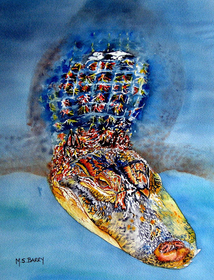 Alligator Painting - Floating Gator by Maria Barry