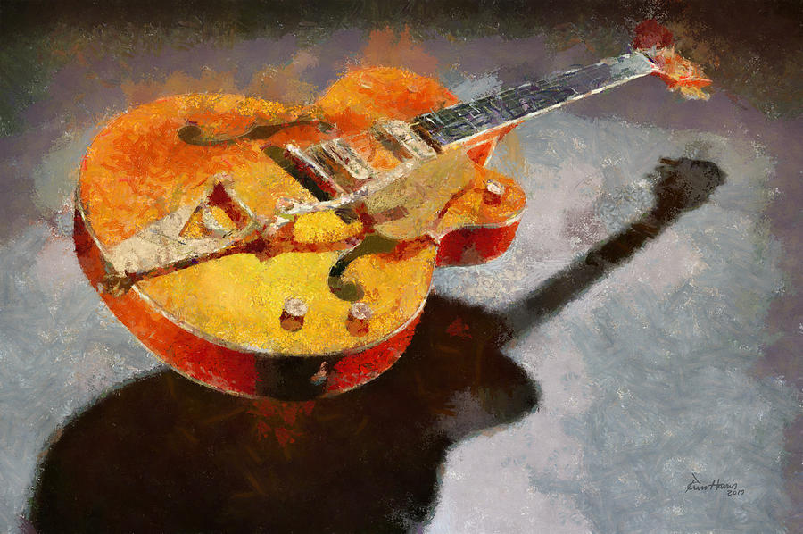 Guitar Painting - Floating Guitar by Russ Harris