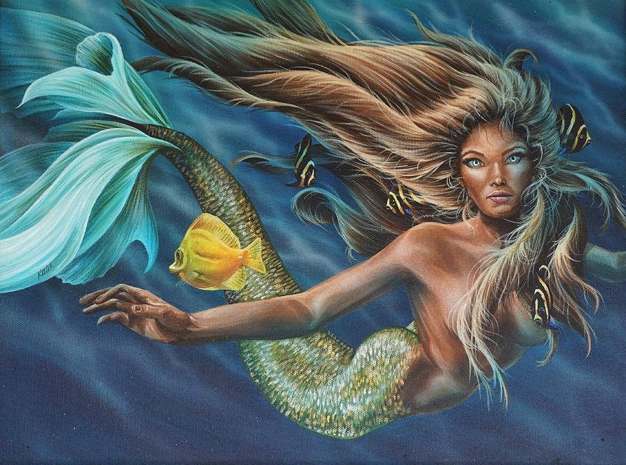 Mermaid Painting - Floating by Katie McConnachie
