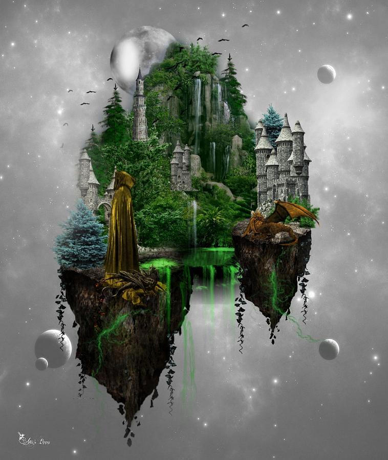 Fantasy Digital Art - Floating Kingdom by Ali Oppy