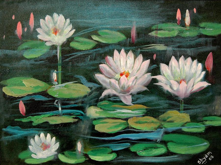 Water Lillies Painting - Floating Lillies by Sai Shyamala Ramanand
