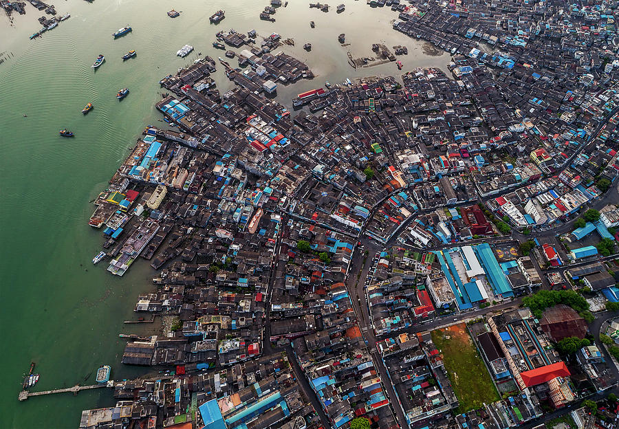 Travel Photograph - Floating Village And Boats From Above by Pradeep Raja PRINTS