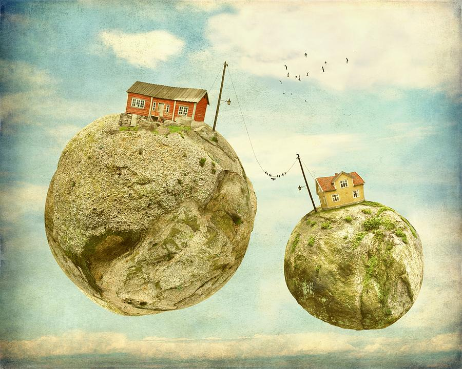 Surrealism Photograph - Floating Village by Sonya Kanelstrand