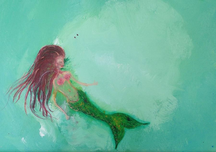 Mermaid Painting - Floaty Mermaid by Roxy Rich