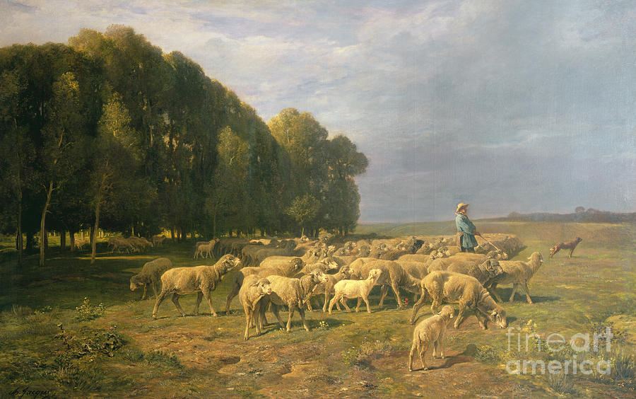 Flock Painting - Flock Of Sheep In A Landscape by Charles Emile Jacque