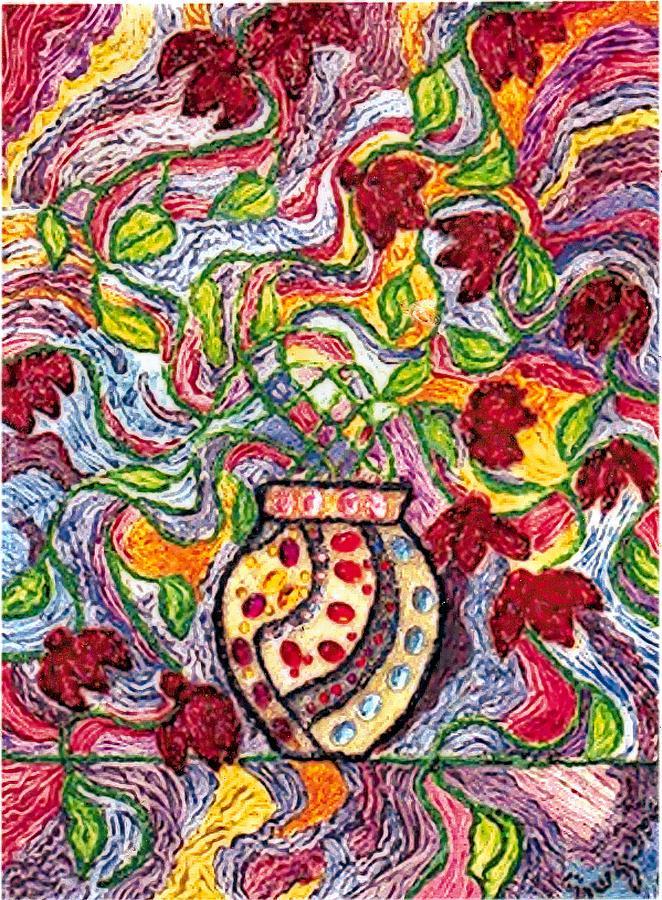 Flowers Painting - Floowers In A Jeweled Vase by Brenda Adams