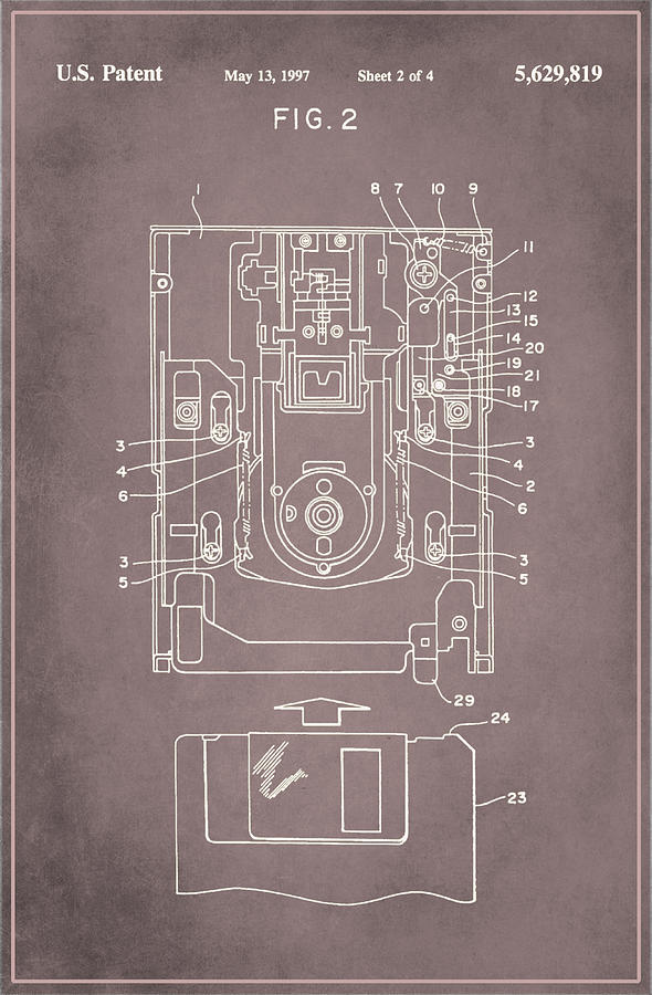 Patent Mixed Media - Floppy Disk Assembly Patent Drawing 1a by Brian Reaves