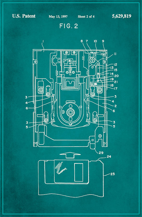 Patent Mixed Media - Floppy Disk Assembly Patent Drawing 1c by Brian Reaves