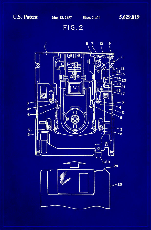 Patent Mixed Media - Floppy Disk Assembly Patent Drawing 1e by Brian Reaves