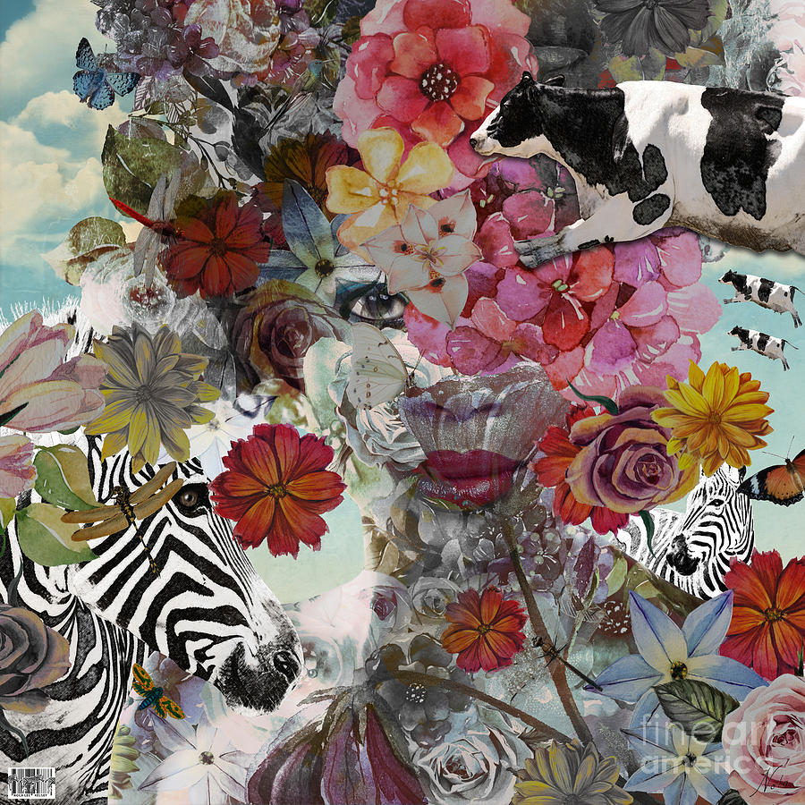 Cow Digital Art - Flora And Fauna by Nola Lee Kelsey