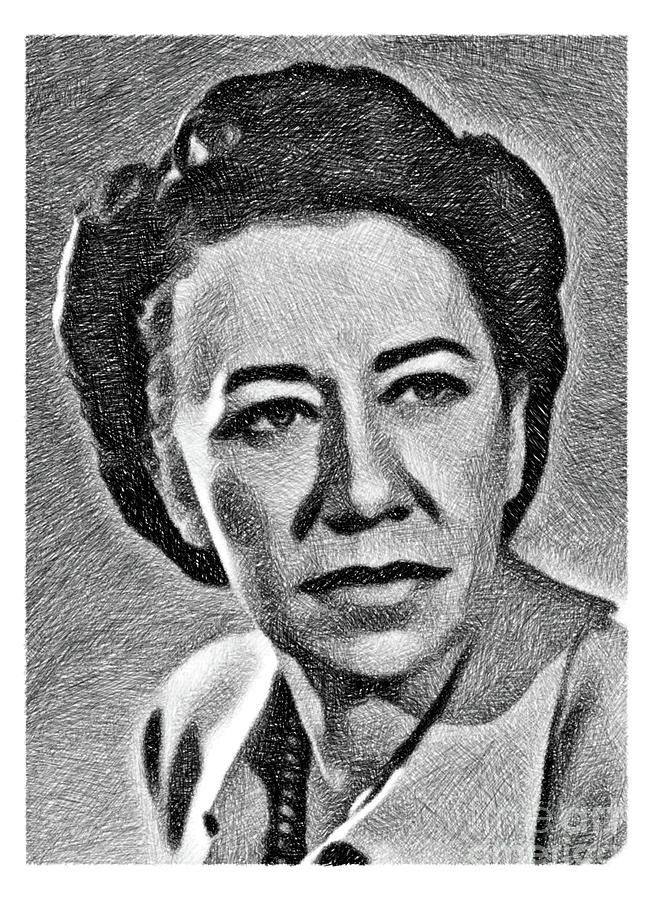 Flora Robson, Vintage Actress By Js Drawing