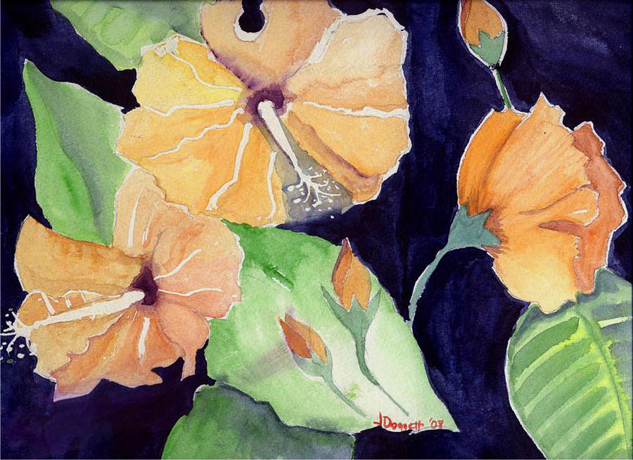 Orange Flowers Painting - Floral Affair by Janet Doggett
