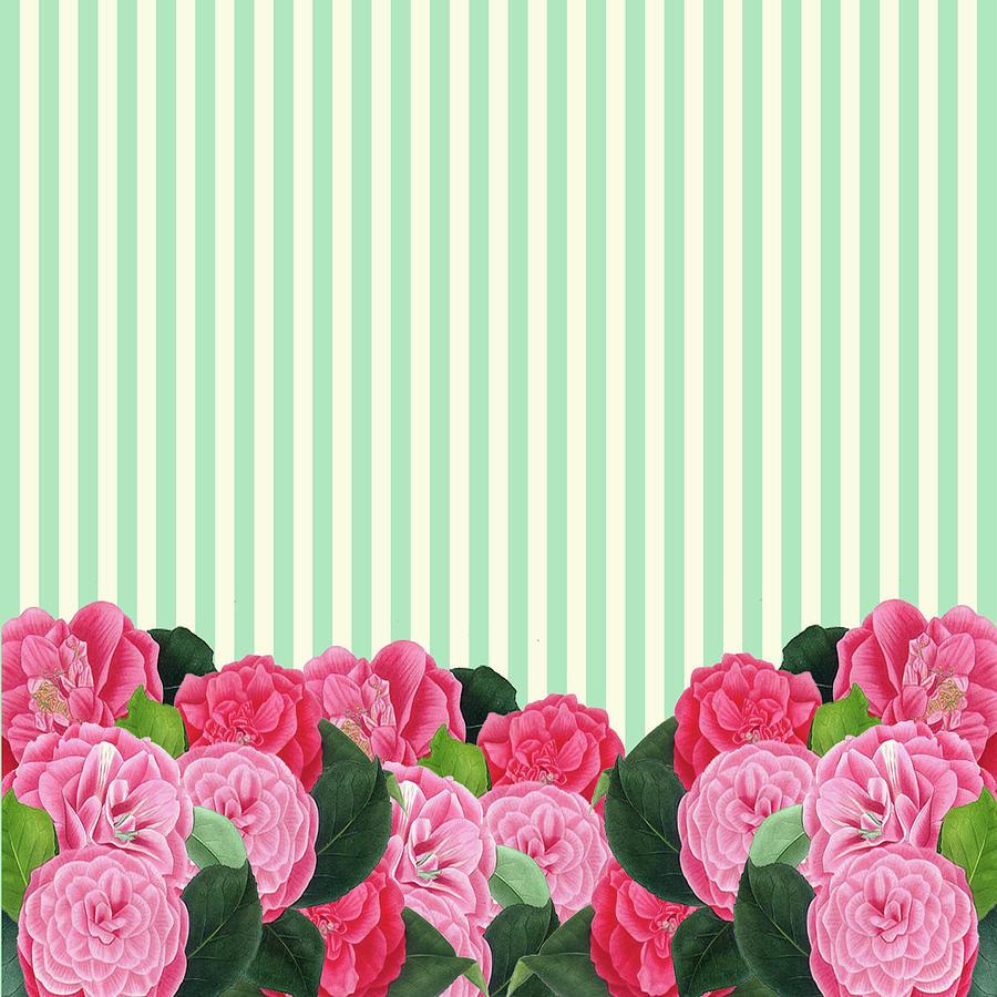 Floral And Green Stripes Digital Art