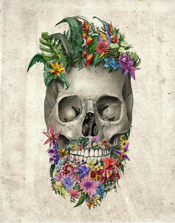 Floral Beard Skull Painting by Bekim M