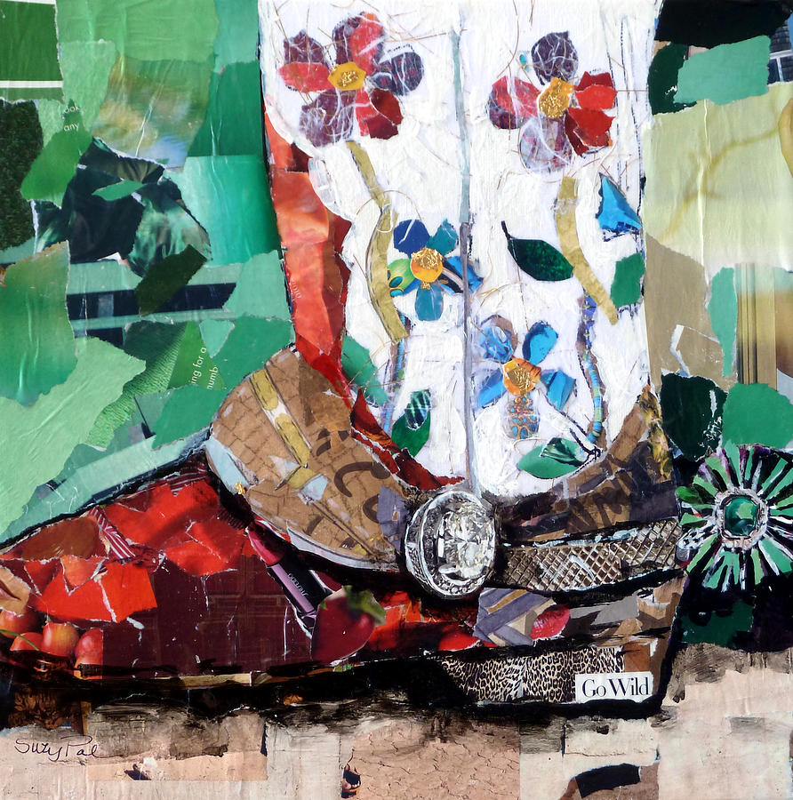 Torn Paper Collage Painting - Floral Boot by Suzy Pal Powell