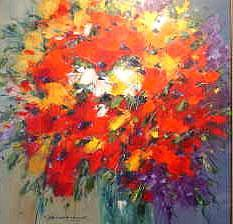Floral Burst Painting by Nesvadba